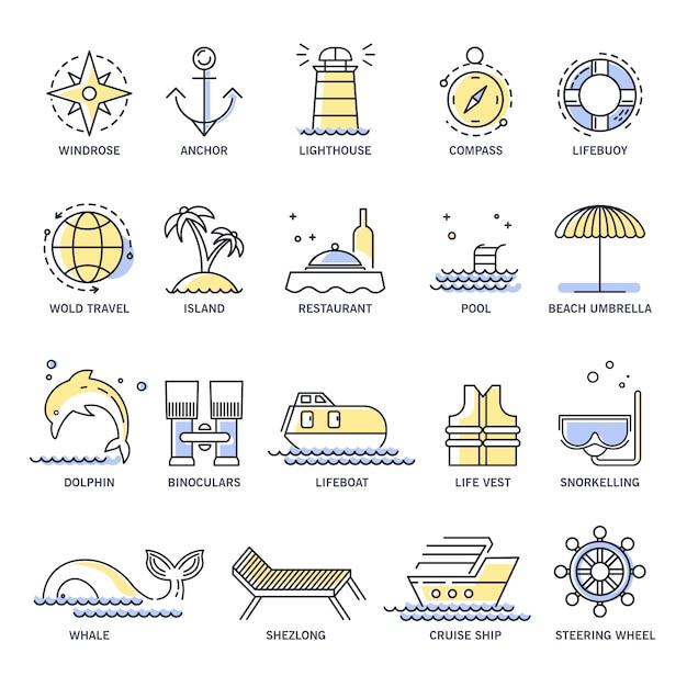 Kreuzfahrt oder sommerferien linie symbole Premium Vektoren