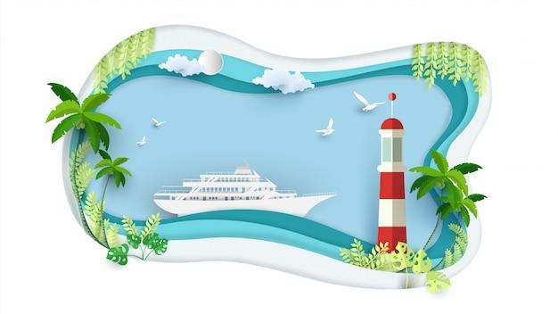 Kreuzfahrten und leuchttürme in der papierkunst Premium Vektoren