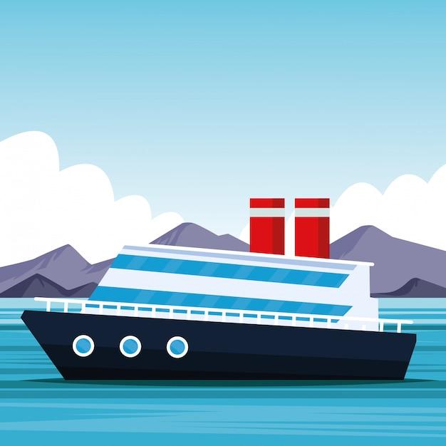 Kreuzfahrtschiff-cartoon Premium Vektoren