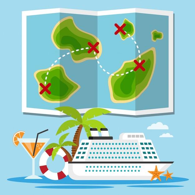 Kreuzfahrtschiff der inseln Premium Vektoren