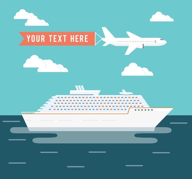 Kreuzfahrtschiff und flugzeugreisevektorillustration mit einem großen passagierkreuzfahrtschiff auf einer reise über den ozean in einem tropischen sommerurlaub und einem flugzeug, das über kopf mit copyspace für text fliegt Kostenlosen Vektoren