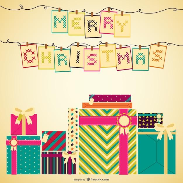 Kreuzstich weihnachtskarte Kostenlosen Vektoren