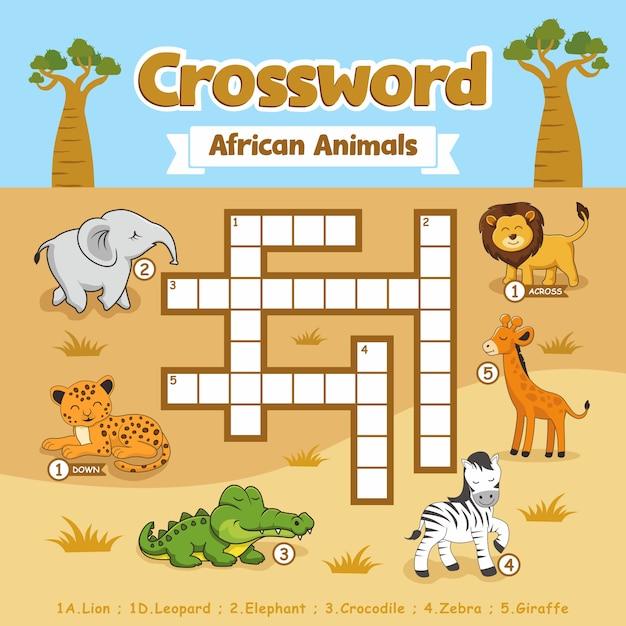 Kreuzworträtsel african animals puzzle games arbeitsblatt Premium Vektoren