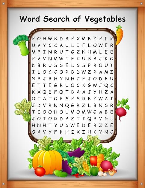 Kreuzworträtsel-wort finden gemüse für kinderspiele Premium Vektoren