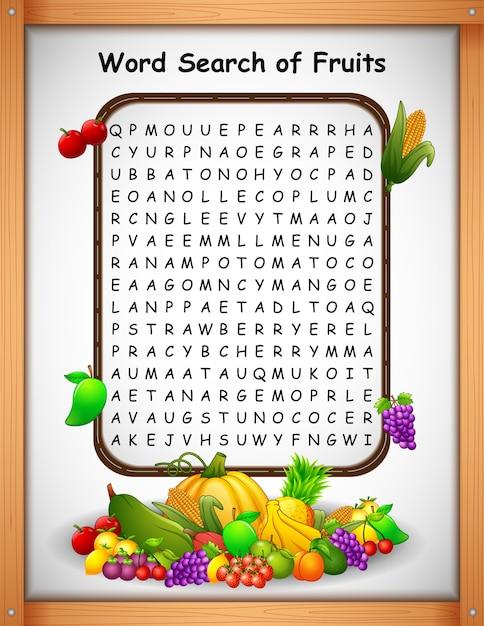 Kreuzworträtsel-wort findet frucht für kinderspiele Premium Vektoren
