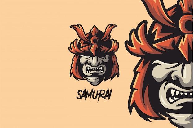 Kriegshelm des samurai-kriegers Premium Vektoren