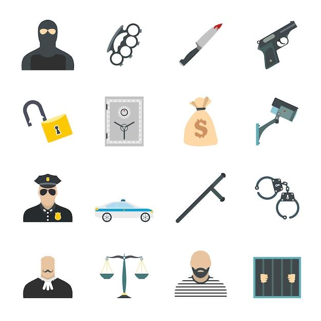 Kriminalität flache elemente für web und mobile geräte festgelegt Premium Vektoren