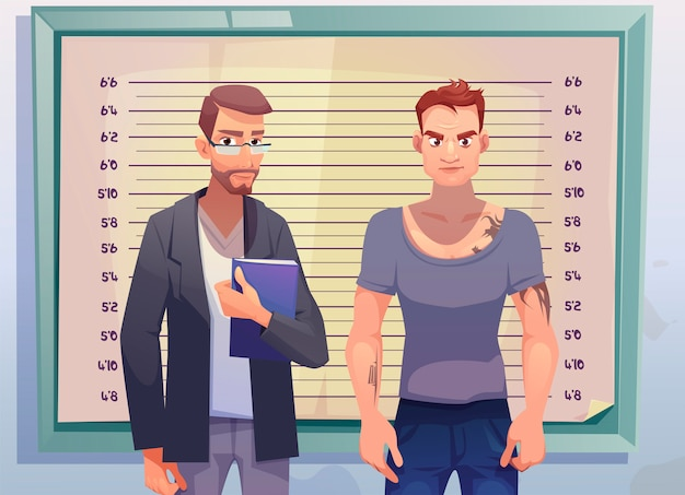 Krimineller und anwalt auf höhenmessskala Kostenlosen Vektoren