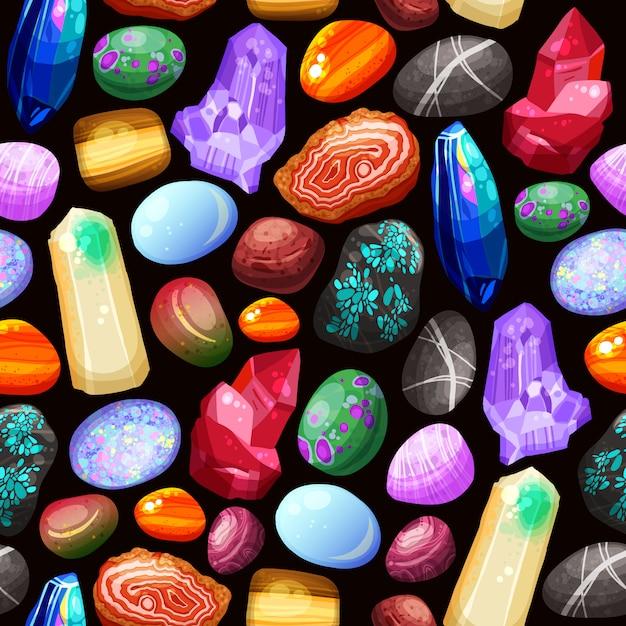 Kristalle steine schaukelt nahtloses muster Kostenlosen Vektoren
