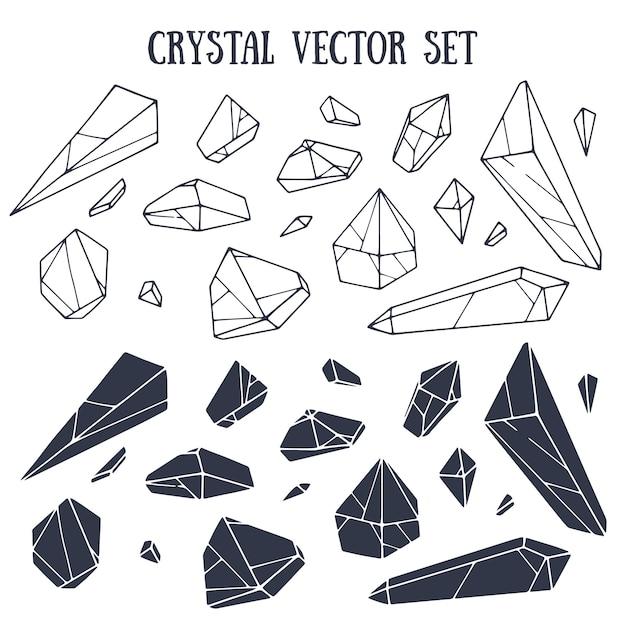 Kristallvektor eingestellt mit beschriftung Premium Vektoren