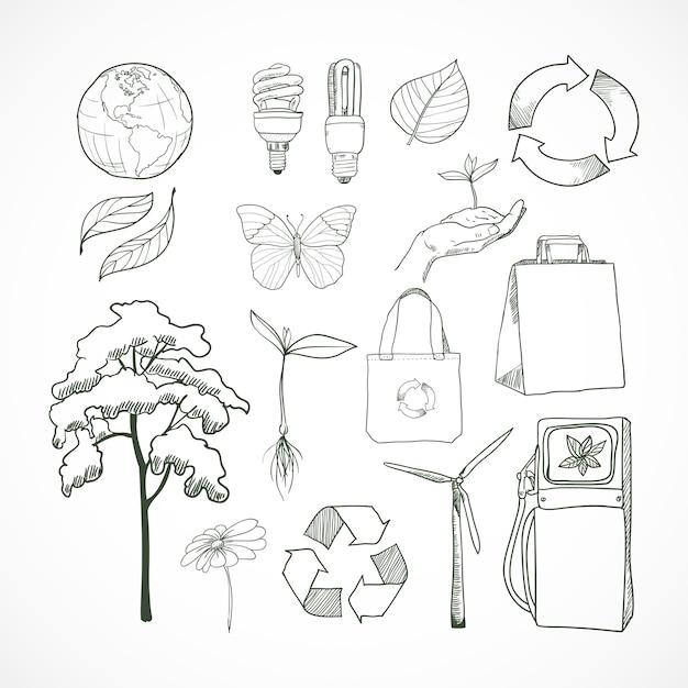 Kritzeleien ökologie und umwelt gekritzel elementsatz Premium Vektoren