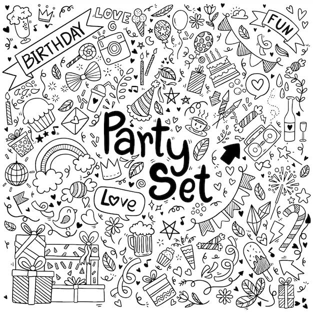 Kritzeleien party set Premium Vektoren