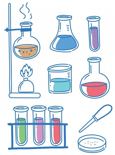 Kritzeleien von wissenschaftsobjekten Premium Vektoren