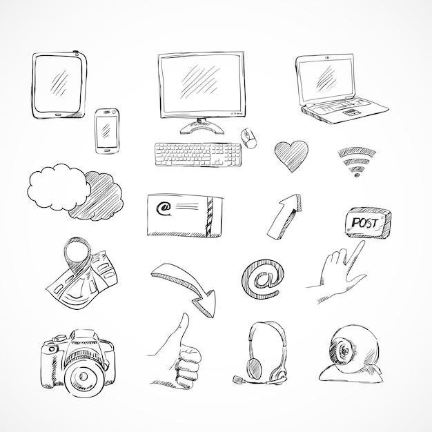 Kritzeln sie die social media-ikonen, die von der netzkommunikation für das lokalisierte blog eingestellt werden Kostenlosen Vektoren