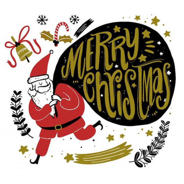 Kritzeln Sie Weihnachtsjahreszeitikonen und grafische Elemente der Weinlese. Tafeleffekt. Premium Vektoren