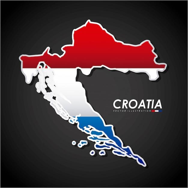 Kroatien-design über schwarzer hintergrundvektorillustration Premium Vektoren