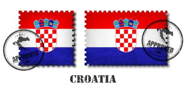 Kroatien oder kroatische flagge muster briefmarke Premium Vektoren