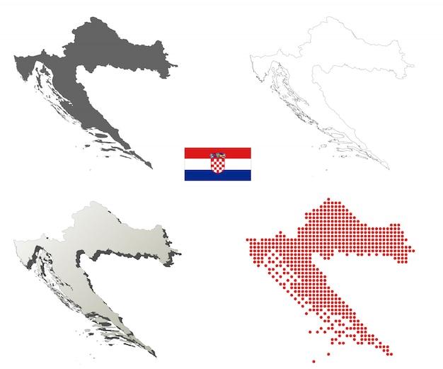 Kroatien-vektor-übersichtskarte-set Premium Vektoren
