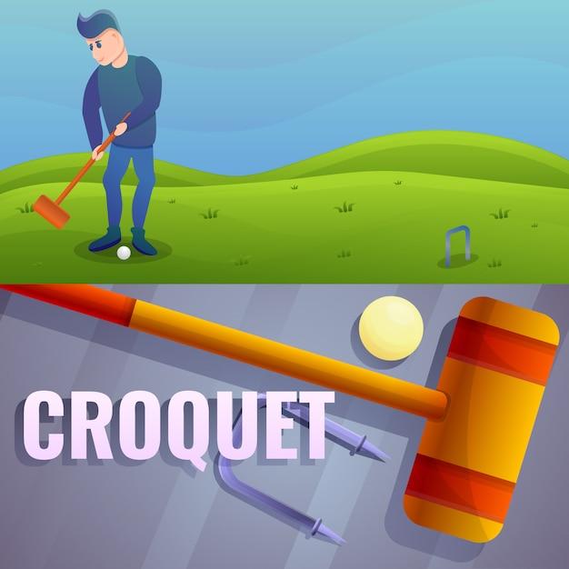 Krocket-illustrationssatz. karikaturillustration des kroketts Premium Vektoren