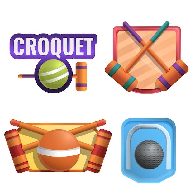 Krocket-logo-set, cartoon-stil Premium Vektoren