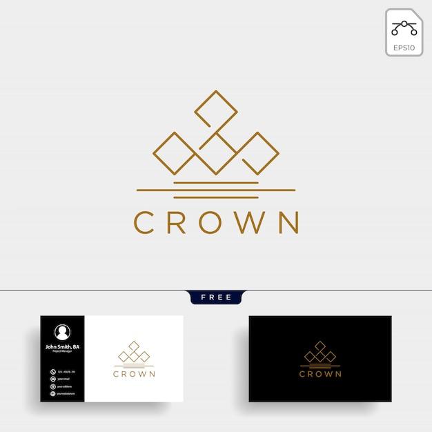 Krone elegante linie logo Premium Vektoren