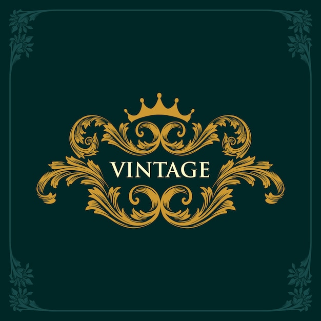 Krone vintage gold ornamente Premium Vektoren