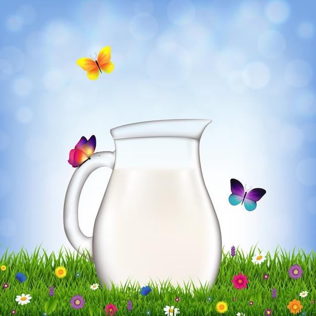 Krug mit milch und gras und blumen mit farbverlaufsnetz, illustration Premium Vektoren