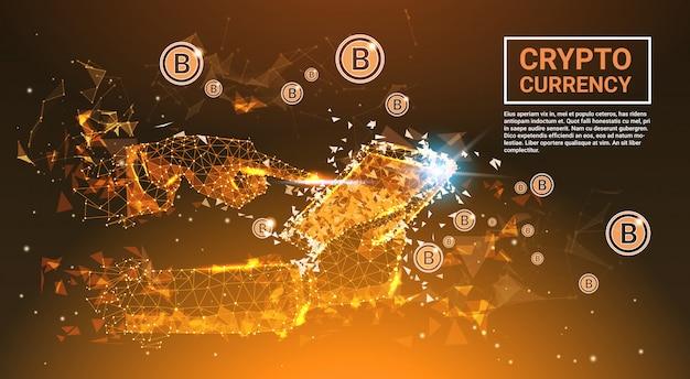 Krypto-währungs-konzept bitcoins-geld-hand, die digitale tablette-polygonale fusions-design-fahne wi hält Premium Vektoren