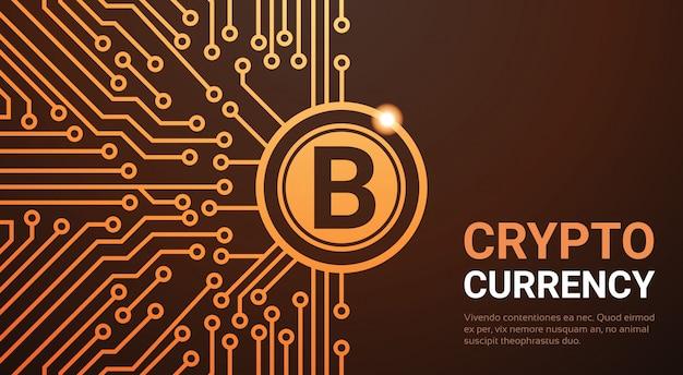 Krypto-währungsnetz-fahnen-goldener bitcoin-digital-währungs-geld-konzept-stromkreis-hintergrund Premium Vektoren