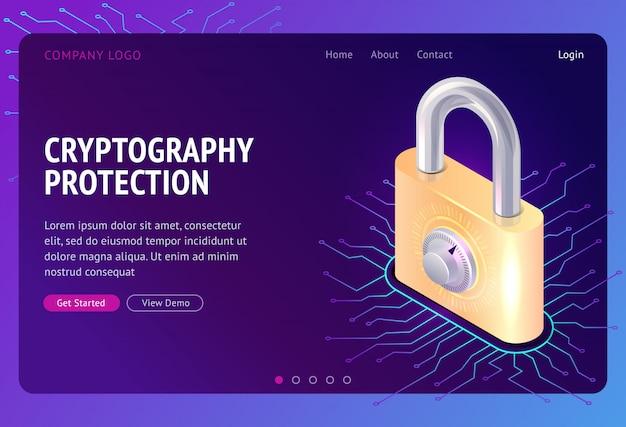 Kryptografieschutz, webisometrisches konzept Kostenlosen Vektoren
