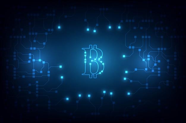 Kryptowährungs-vektorhintergrund digital bitcoin. bitcoin-vektorillustrationshintergrund Premium Vektoren