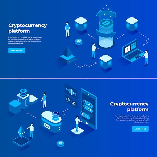 Kryptowährungsaustausch und isometrische zusammensetzung der blockchain Premium Vektoren