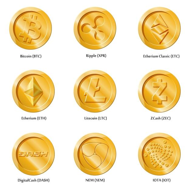 Kryptowährungsikonenmünzen Premium Vektoren