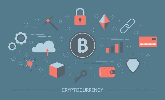 Kryptowährungskonzept. idee von blockchain und bergbau. finanziere reichtum und digitales geld verdiene. futuristische technologie. satz bunte symbole. illustration Premium Vektoren