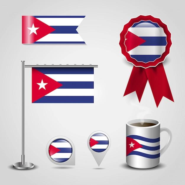 Kuba-land-flaggenplatz auf karten-pin, stahlpfosten und band-ausweis-fahne Premium Vektoren