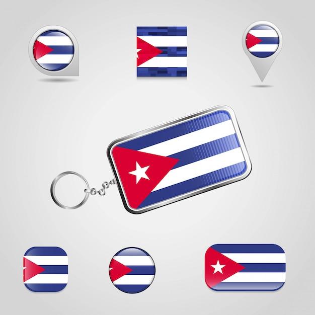 Kuba-landesflagge auf keychain und unterschiedlicher art des kartenstiftes Premium Vektoren