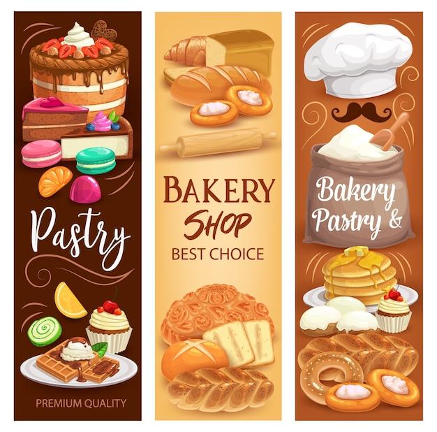 Kuchen desserts, backbrot und süßes gebäck Premium Vektoren