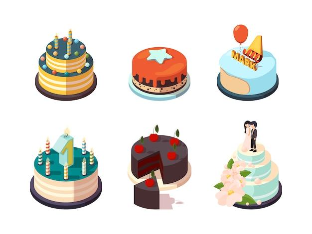 Kuchen. leckere party bäckerei essen sahne kuchen mit schokolade erdbeere glasiert für urlaub party geburtstag überraschung isometrisch Premium Vektoren