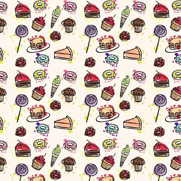 kuchen muster hand gezeichnet kostenlose vektoren - Kuchen Muster