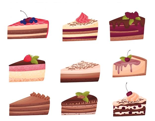 Kuchen sammlung auf weißem hintergrund. bäckereikonzept. Premium Vektoren