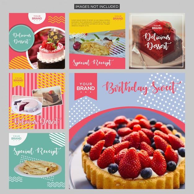 Kuchen-social media-beitragsdesignschablone Premium Vektoren