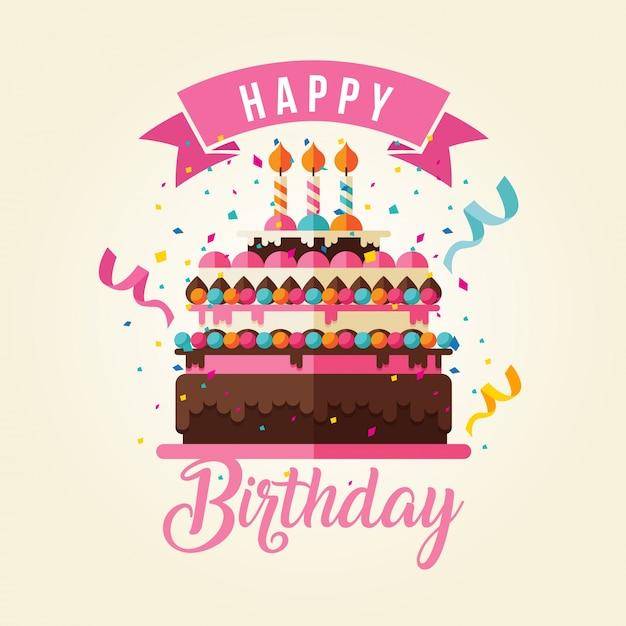 Kuchen Thema Happy Birthday Card Illustration Download Der