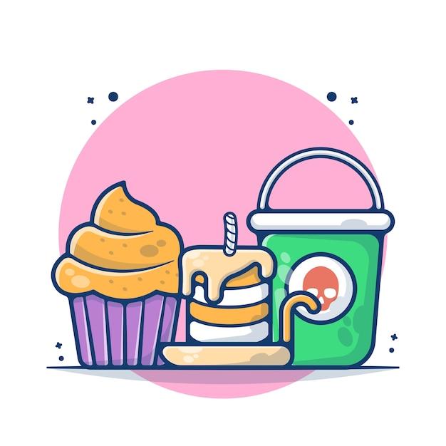 Kuchen und kerze mit eimer-vektor-illustration Premium Vektoren