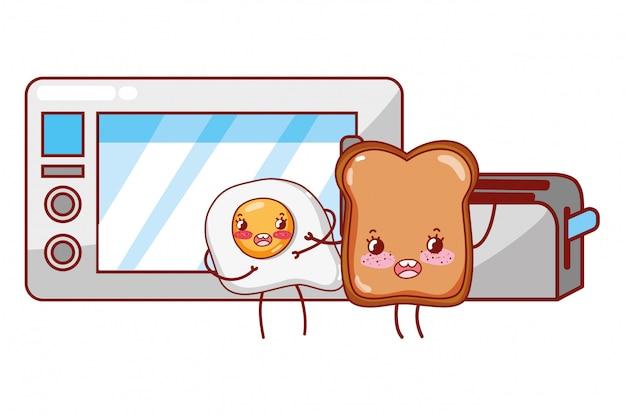 Küche und essen kawaii cartoons Premium Vektoren