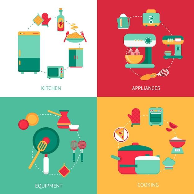 Küchen-konzept des entwurfes mit elementzusammensetzung Kostenlosen Vektoren