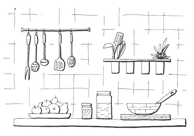 Küchenarbeitsplatte. tischplatte in der küche. illustration im skizzenstil. Premium Vektoren