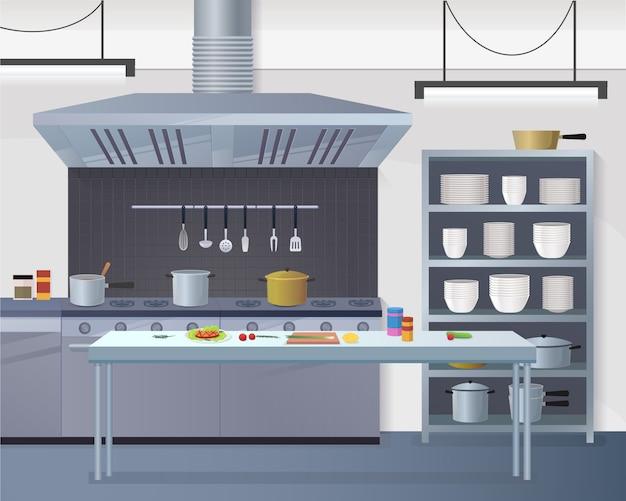 Küchenarbeitsrestaurant für cookin Premium Vektoren