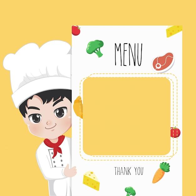 Küchenchef empfiehlt speisekarte, Premium Vektoren