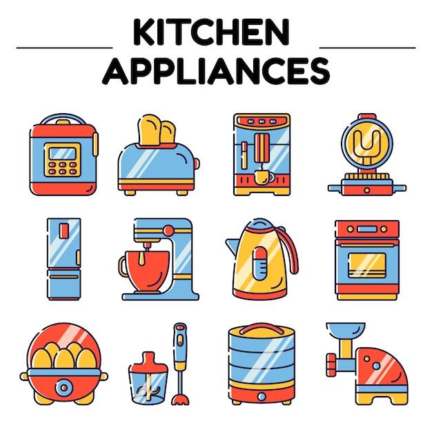 Küchengeräte isolierte objekte Premium Vektoren