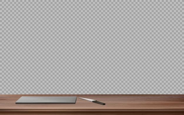 Küchenholztisch mit schneidebrett und messer Kostenlosen Vektoren